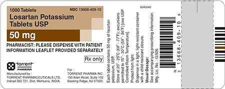 Brown/White Label, Losartan potassium tablets, 50 mg, 1000 count