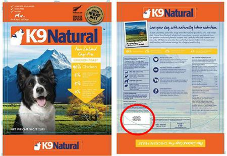 K9 Natural Frozen Chicken Feast 2.2lb bags