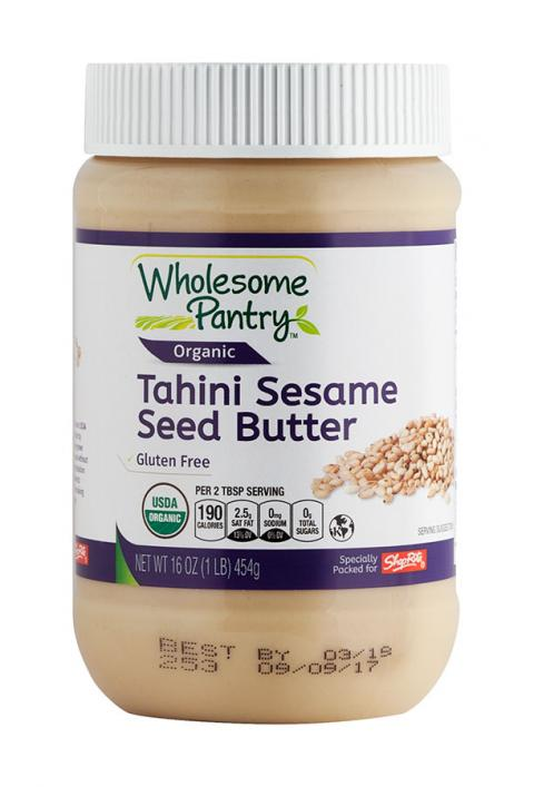 """Product image, front label with Best By coding for Wholesome Pantry Organic Tahini Sesame Seed Butter, Salted Cashew Butter Creamy Net Wt 16 OZ (1 LB) 454g."""