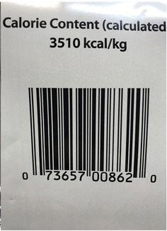 Picture Calorie Count and UPC Code 0 73657 00862 0, 14 lb bag