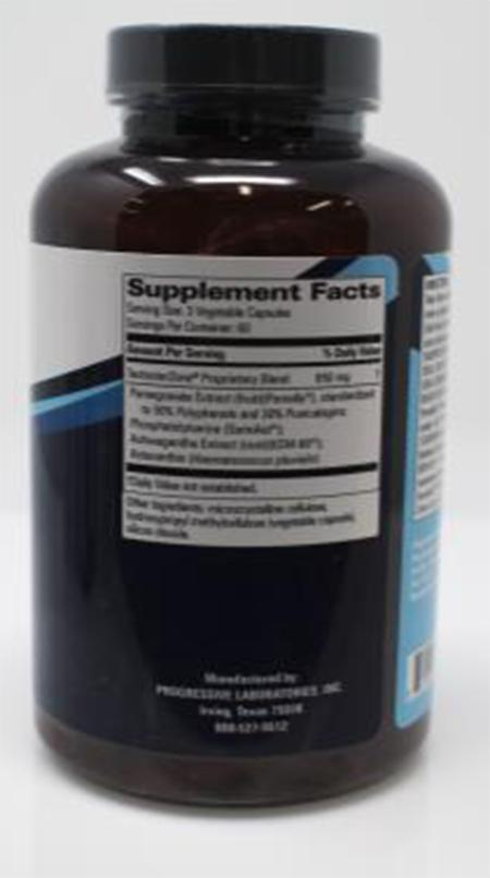 Product Image back, Supplement Facts Progressive Laboratories Testoter Zone 180 count bottle