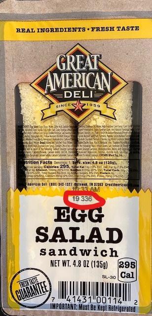 Label, Great American Deli Egg Salad Sandwich