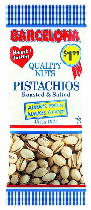 Product image Barcelona Roasted & Salted Pistachios packaged in Red White and Blue window plastic film