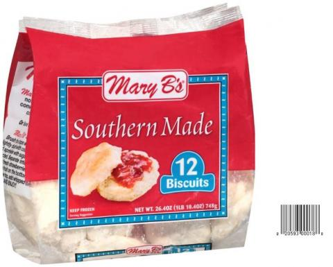 Product image and UPC 2059300018 MARY B'S SOUTHERNMADE BISCUITS 26.4OZ.jpg