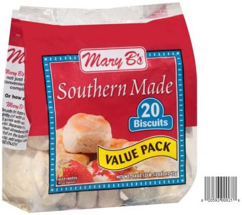 Product image and UPC 2059300021 MARY B'S SOUTHERNMADE VALUE PACK BISCUITS 44OZ.jpg