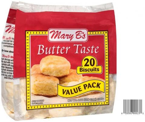Product image and UPC 2059300023 MARY B'S BUTTERTASTE VALUE PACK BISCUITS 44OZ.jpg
