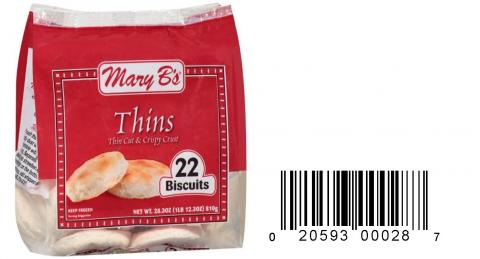 Product image and UPC 2059300028 MARY B'S THIN BUTTERMILK BISCUITS 28.6OZ.jpg