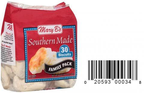 Product image and UPC 2059300034 MARY B'S SOUTHERNMADE FAMILY PACK BISCUITS 60OZ..jpg