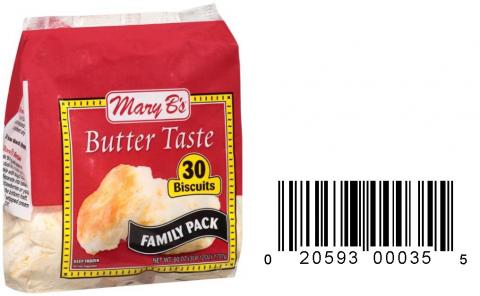Product image and UPC 2059300035 MARY B'S BUTTERTASTE FAMILY PACK BISCUITS 60OZ.jpg