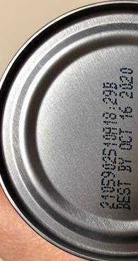 Product image bottom of can, Coding Best By
