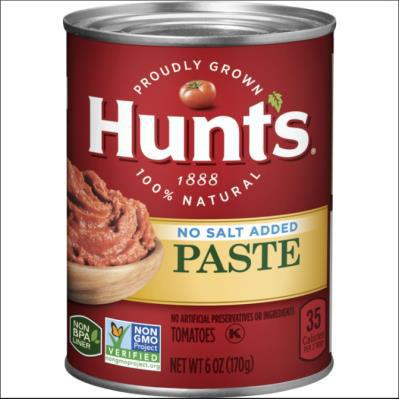 Product image front of can, Hunt's No Salt Added tomato Paste NET WT 6 OZ (170g)