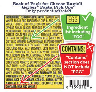 Product image, Back of pack label for ingredients and 'CONTAINS' statement for Gerber, Pasta pick-ups cheese ravioli NET WT 6 OZ