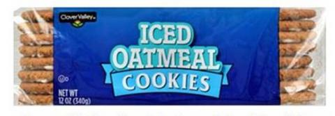 Product image, Clover Valley Iced Oatmeal Cookies, Net Wt 12 OZ.jpg
