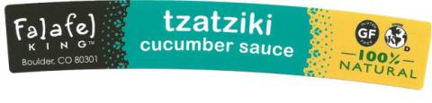 Product image, Falafel King tzatziki cucumber sauce, front old label
