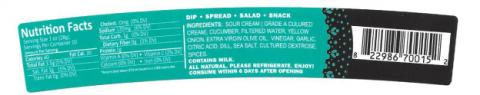 Product image, Falafel King tzatziki cucumber sauce, new rear label