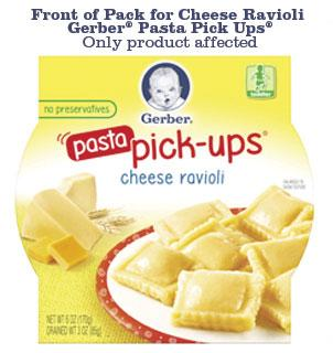 Product image, Front of Pack for Gerber Pasta pick-ups cheese ravioli NET WT 6 OZ