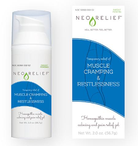 Product image, NeoRelif muscle cramping & restlessness, 2018 Current Bottle, Label, and Box Design