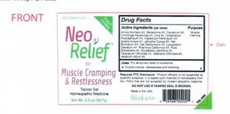 Product image, front of NeoRelif muscle cramping & restlessness, Feb 2017 through April 2018 Label Design