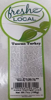 Product label, Fresh & Local, Tuscan Turkey