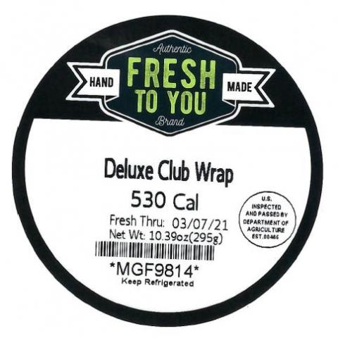 Product label, Fresh to You Deluxe Club Wrap
