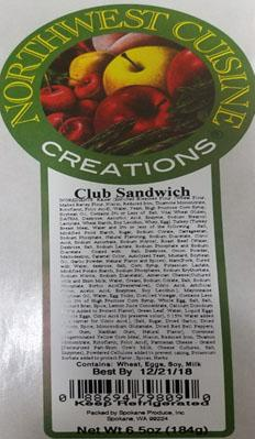Product label, Northwest Cuisine Creations, Club Sandwich