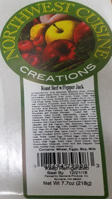 Product label, Northwest Cuisine Creations, Roast Beef w-Pepper Jack