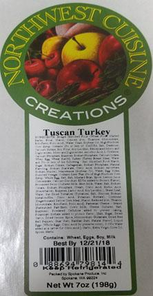 Product label, Northwest Cuisine Creations, Tuscan Turkey