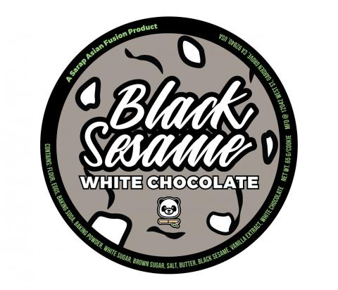 Product label, Sarap Asian Fusion Black Sesame White Chocolate