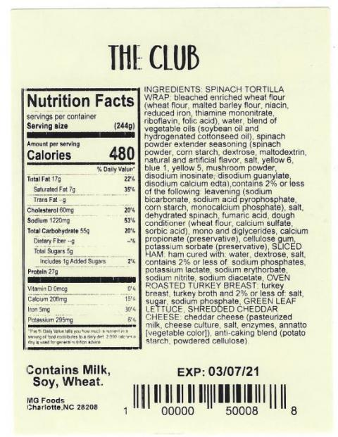 Product label, The Club Nutrition Facts, Ingredients, coding