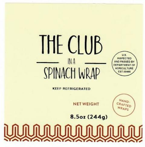 Product label, The Club in a Spinach Wrap