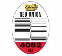 PLU Sticker - Pacific Gold Red Onion 4082 USA