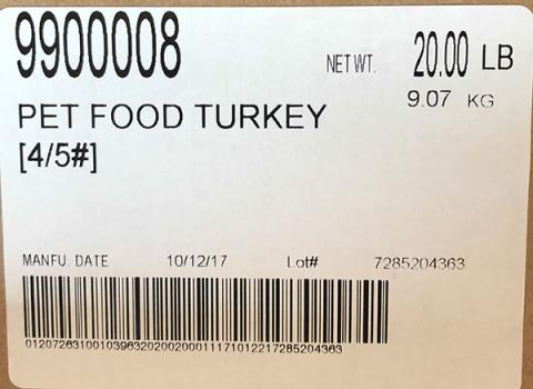 Raws For Paws Recalls Turkey Pet Food Because of Possible Salmonella Health Risk.jpg