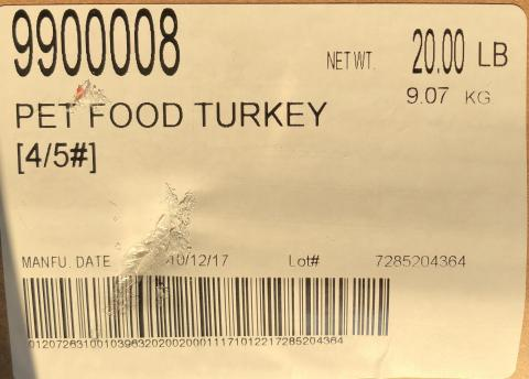 Raws For Paws Recalls Turkey Pet Food Because of Possible