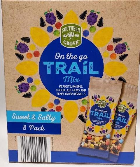 """""""Southern Grove On the go Trail Mix, 8 pack, front label"""""""