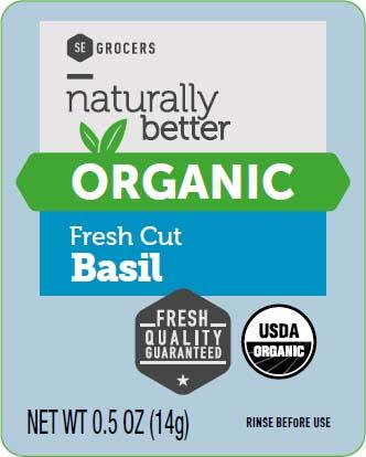 Naturally Better Organic Fresh Cut Basil, Net wt. 0.5 oz, front and back label