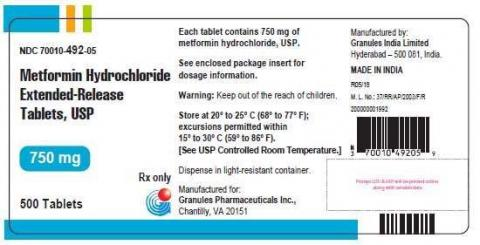 Photo 2 – Labeling - Metformin Hydrochloride Extended-Release Tablets, USP 750 mg. Pack Mode: 500 Tablets