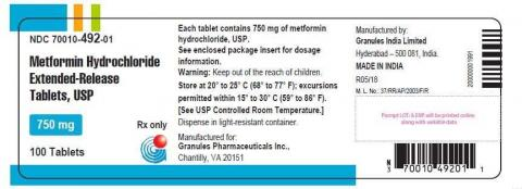 Photo 1- Labeling - Metformin Hydrochloride Extended-Release Tablets USP, 750 mg. Pack Mode: 100 Tablets