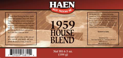 Label – HAEN MEAT PACKING INC., 1959 HOUSE BLEND, Net Wt. 6.5oz.