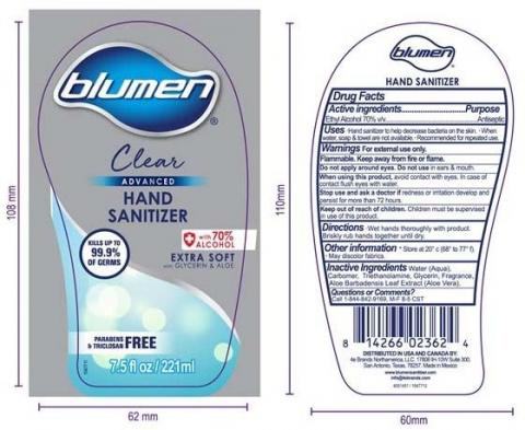 Product label front and back, BLUMEN ADVANCED CLEAR HAND SANITIZER 7.5 FLOZ