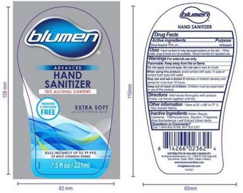 Product label front and back, BLUMEN ADVANCED HAND SANITIZER 7.5 FLOZ / 221ML