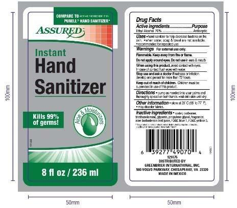 Product label front and back, ASSURED ALOE HAND SANITIZER 8 FL OZ/ 236 ML