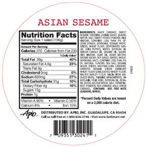 Salad Shake Ups – Asian Sesame Nutrition Facts Panel