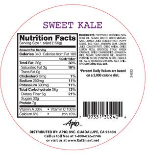 Salad Shake Ups – Sweet Kale Nutrition Facts Panel