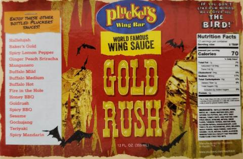 Pluckers Wing Bar World Famous Wing Sauce Gold Rush 12 oz.