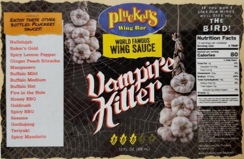 Pluckers Wing Bar World Famous Wing Sauce Vampire Killer 12 oz.
