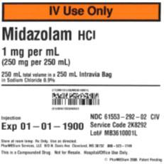 Service code 2K8292, 1 mgmL Midazolam HCl ( Preservative Free) in 0.9% Sodium Chloride Injection USP.jpg