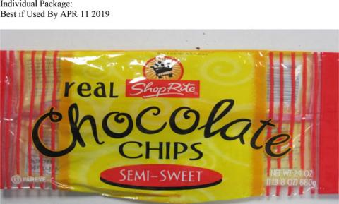 ShopRite brand Semi-Sweet Real Chocolate Chips, Best if Used By APR 11 2019
