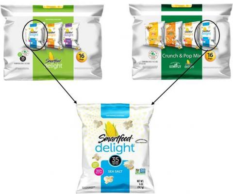 Product images of variety pack and individual bag of Smartfood Delight Sea Salt Flavored popcorn