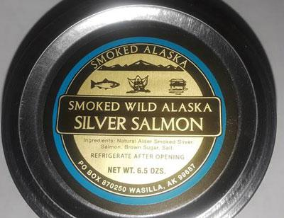 Top of Container - SMOKED ALASKA, SMOKED WILD ALASKA SILVER SALMON, NET WT. 6.5 OZ.