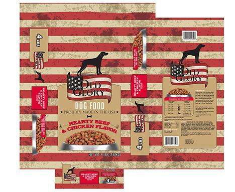Image – OLD GLORY DOG FOOD, HEARTY BEEF & CHICKEN FLAVOR, NET WT. 4 LBS